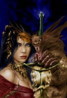 Woman With Monster by ginadine17