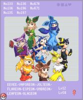 One Big Eevee Family-Pokedex by Porcubird