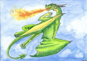Green Dragon Postcard by Psydrache