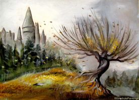 Whomping Willow and Hogwarts Castle... by WormholePaintings