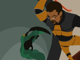 freeman vs pit monster by Aaron-A-Arts