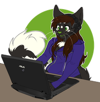COMMISSION: gamer cat by Nekoshiba