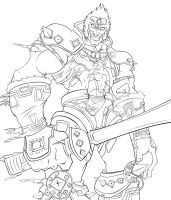 Ganondorf OOT Line Art WIP by darkly-shaded-shadow