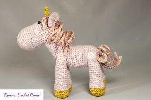 Lavender and Gold Jointed Amigurumi Unicorn by karenscrochetcorner