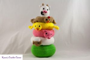Farm Friends Stacking Ring Toy by karenscrochetcorner