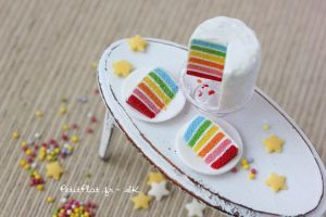 Bright Rainbow Cake by PetitPlat