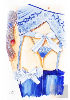 Blue laces and bows by LittleGala