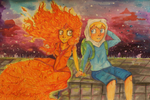adventure time flame princess and finn by GingerAdy
