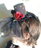 Gothic Tiny Top Hat with Full Black Veil by TinyTopHats