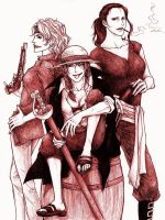 Genderswap: Shanks and Crew by Boolsajo