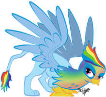Fast Flashy Feathers -  Rainbow Dash Griffonized by WingWind