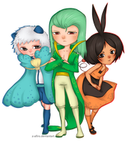 Pokemon Gijinka - Oshawott, Snivy and Tepig by Z-afiro