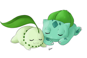 Bulbasaur and Chikorita by marikots