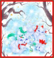 Winter Wonderland Foxes by manic-goose
