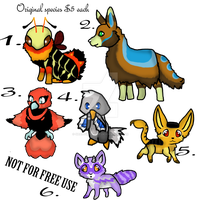 Custom species batch 1 (all open, paypal adopts) by Shadowfoxnjp
