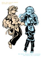 LoZ quick doodle mal and zel by dan-heron