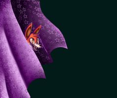 Foxy Jumping from his Curtain by Eloylie