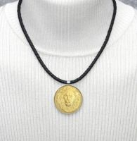 Great Spirit Lion Coin on Nappa Leather Necklace by dlstancel