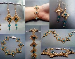Coronet Bracelet Set Collage by beadg1rl