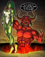She-Hulk and Satan by CerberusLives