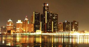 Night Detroit Skyline - Stock by photofreak-stock