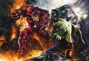 Hulk Vs Hulkbuster Iron Man Avengers Age Of Ultron by Twynsunz