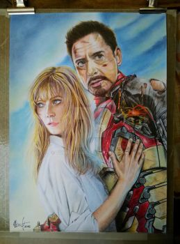 Tony Stark and Pepper by TomHornArt