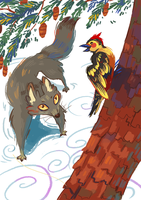 Wolf and woodpecker by Osato-kun