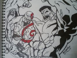 Hulk vs Kratos : ink by papabear7