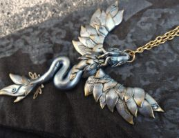 Silver Fairy Dragon Necklace - wearable art by RegnumLaternis