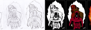 Daredevil Hellboy step-by-step by BouncieD