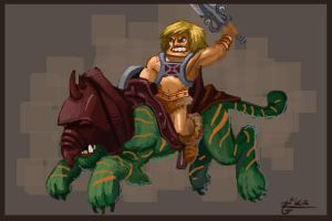 Mini He-Man and Battlecat by irongiant775