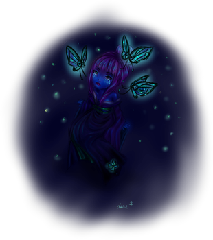 Girl with butterflies by dereDFS
