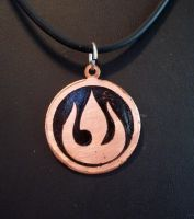 Fire Nation Symbol Necklace by spaceraptor