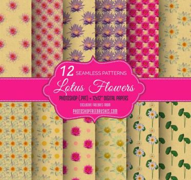 12 Lotus Flower Seamless Patterns on Brown Paper by fiftyfivepixels