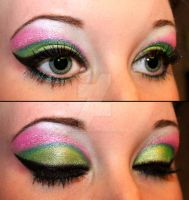 Green and pink eyeshadow by Creativemakeup
