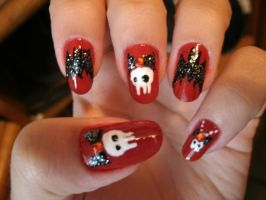 Skulls and Bats Nail Art by kirarachan