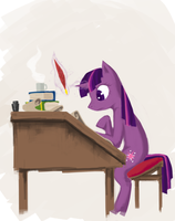Daydreaming bookkeeper by HawtKoffee