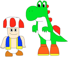 Yoshi and Toad by jacobyel