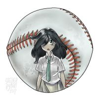Tomoko Kuroki and baseball (Watamote) by ezsaeger
