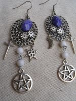 Victorian Steampunk Witch Earrings by SacredJourneyDesigns