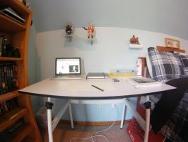My unrealistically organized workspace by OneOfLifesMysteries