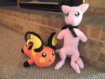 Raichu and Mew by Vulpes-Canis