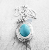 Turquoise Oval Cabochon Silver Locket Necklace by crystaland