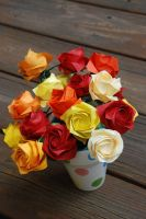Origami Fall Roses by lisadeng