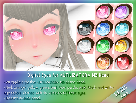[Second Life]Digital Eyes for UTILIZATOR M3 Head by Cari-Rez-Lobo