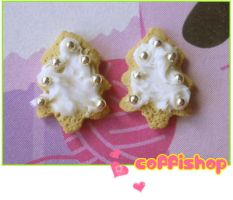 Christmas tree cookies stud by coffishop