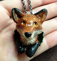 Red Fox Pop-Out Necklace by LeiliaK