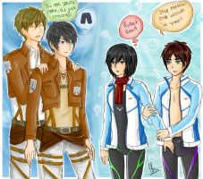 Crossover : Attack on Titan and Free! by frenzy-dragon