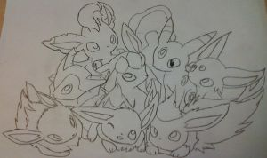 Eeveelution lineart by pokefan444